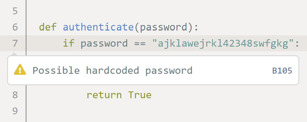 Codeac hardcoded password detection