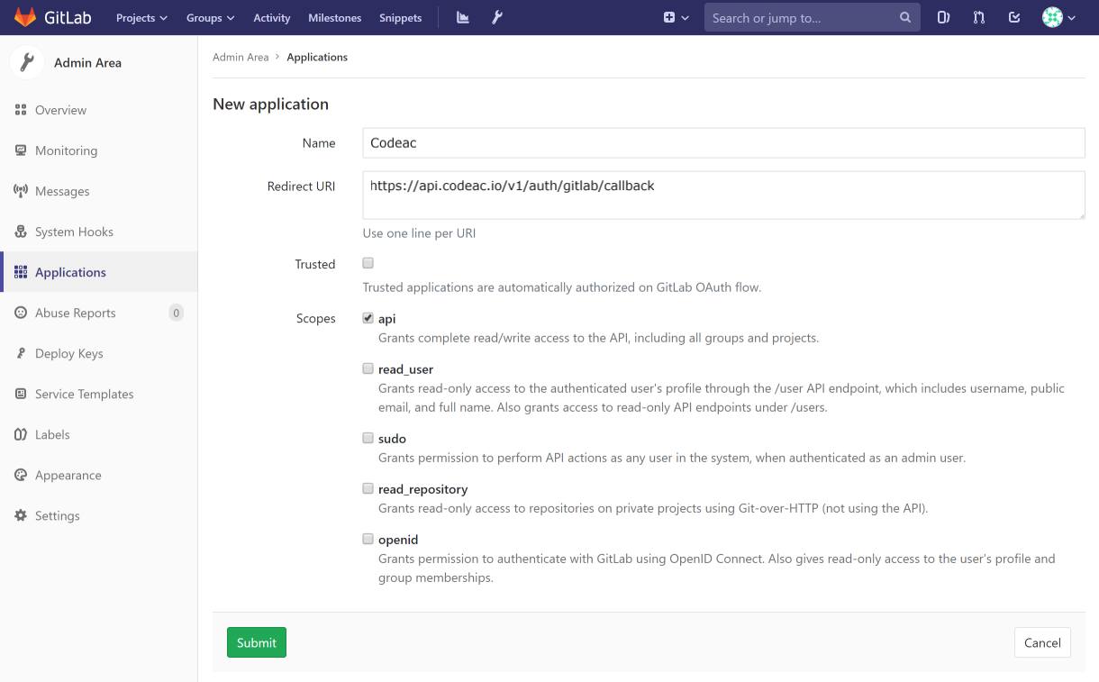 GitLab Settings